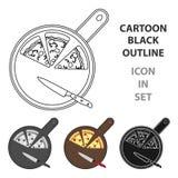 Pizza en el icono de la tabla de cortar en estilo de la historieta aislado en el fondo blanco Vector de la acción del símbolo de  Imagenes de archivo