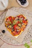 Pizza en forme de coeur Images libres de droits