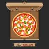 Pizza en la caja de cartón abierta Imágenes de archivo libres de regalías
