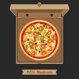 Pizza en la caja de cartón abierta Fotografía de archivo