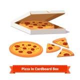 Pizza en la caja de cartón abierta salida Fotografía de archivo libre de regalías