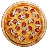 Pizza en la opinión superior del fondo de madera ligero Aislado Imagenes de archivo