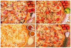 Pizza en la tabla Imágenes de archivo libres de regalías