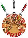 Pizza en la tarjeta de corte Fotografía de archivo libre de regalías