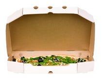 Pizza en rectángulo del cartón Fotografía de archivo libre de regalías