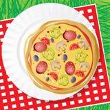 Pizza en un plato Imágenes de archivo libres de regalías