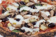 Pizza encendida madera de las aceitunas y de las setas de las alcachofas Fotos de archivo libres de regalías
