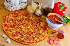 Pizza et ingrédients italiens Image stock