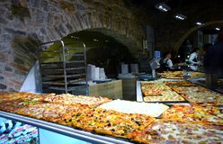 Pizza for every taste in Bergamo Alta. Royalty Free Stock Photography