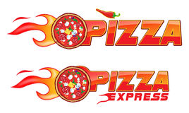 Pizza exspress flames project 2. 2 Burning pizza with ingredients customizable Stock Photography
