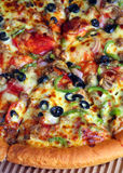 Pizza extreme close-up vertical Royalty Free Stock Photos