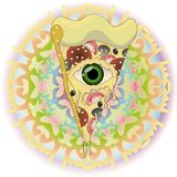 Pizza with eye at abstract psychodelic bacground stock illustration