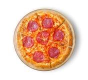Pizza för pizzasalamesalami Arkivbilder