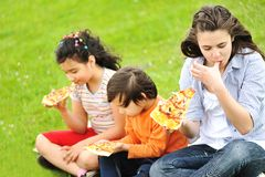 Pizza, family, outdoor Stock Photo