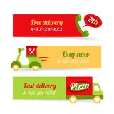 Pizza fast delivery banners Royalty Free Stock Images