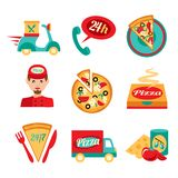 Pizza Fast Delivery Icons Set Stock Photos