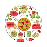 Pizza fast delivery service. Fast food pizza delivery service concept with sketch icons vector illustration Royalty Free Stock Image