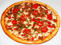Pizza, fast food. Appetizing, delicious food, diverse toppings, Italian cuisine, art chef Stock Photography
