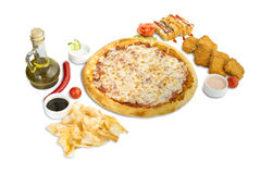 Pizza with fast food Stock Photo
