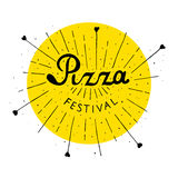 Pizza Fest lettering hand drawn. Isolated on white background Stock Photo