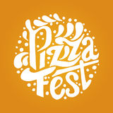 Pizza Fest lettering.Hand drawn lettering background. Ink illustration. Modern brush calligraphy Royalty Free Stock Photo