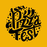 Pizza Fest lettering.Hand drawn lettering background. Ink illustration. Modern brush calligraphy Royalty Free Stock Image