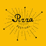 Pizza Festival. Hand drawn lettering background. Ink illustration. Pizza Fest lettering hand drawn. Isolated on white background Stock Photo
