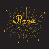 Pizza Festival lettering. Italian Pizza. Pizza Fest lettering hand drawn. Isolated on white background Stock Image