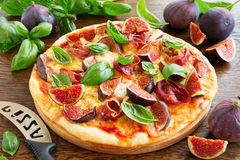 Pizza with figs, Stock Image