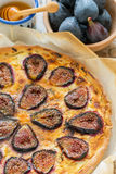Pizza with figs, ricotta and honey. Stock Images