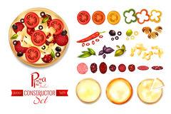Pizza Filler Constructor Set. Pizza constructor set with flat isolated images of spices tomato salami and crust slices with text vector illustration Stock Images