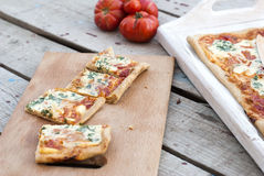Pizza fina con el tomate, el queso rallado e hierbas Imagen de archivo libre de regalías