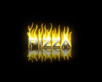 Pizza on Fire. Pizza Text on Fire with Reflection Vector Illustration