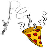 Pizza Fishing Lure. An image of a slice of pizza dangling on a fishing pole hook Stock Photos