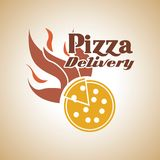 Pizza with flame icon. Fast food design. Vector graphic Stock Photos