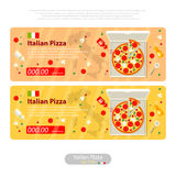 Pizza flat icon banner italian handmade Stock Photos