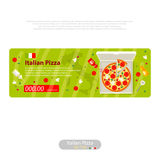 Pizza flat icon banner italian handmade Stock Photos