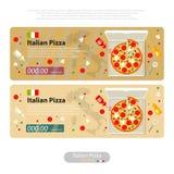 Pizza flat icon banner italian handmade Royalty Free Stock Image