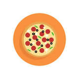 Pizza flat icon. Round colorful button, circular vector sign, lo Royalty Free Stock Images