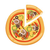Pizza flat icons  on white background Royalty Free Stock Images