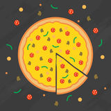 Pizza flat illustration with vegetables, mushrooms and salami on black. Stock Images