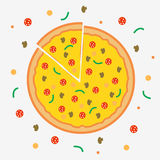 Pizza flat illustration with vegetables, mushrooms and salami on black. Royalty Free Stock Image