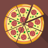 Pizza in flat style Stock Photography