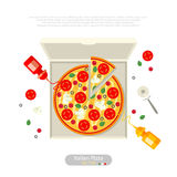 Pizza flat style vector illustration Stock Image