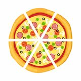Pizza in flat style  on white background. Icon food silhouette. Vector illustration Stock Photography