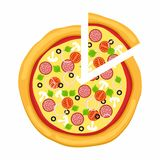 Pizza in flat style  on white background. Icon food silhouette. Vector illustration.  Stock Photo