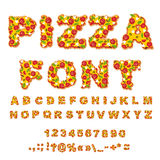 Pizza font. Letters dough. Food Alphabet. Fast food ABC. Italian. Food. fresh slice of pizza. numbers and punctuation marks. Tomatoes and mushrooms. Greens and stock illustration