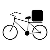 Pizza food delivery bicycle pictogram Stock Image