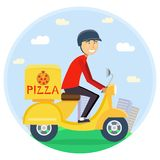 Pizza or food delivery concept. Boy riding on scooter or motorcycle, delivering fastfood. Fast and free Transport. Free shipping, pizza restaurant service Stock Image