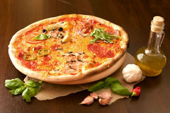 Pizza- food with friends. Inserted into the pizza oven. Margerita, Pizzeria Royalty Free Stock Photos